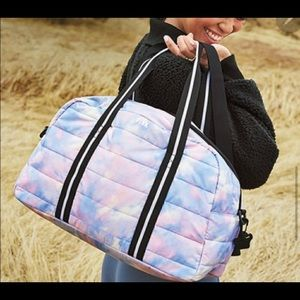 NLA PINK quilted tie dye duffel bag